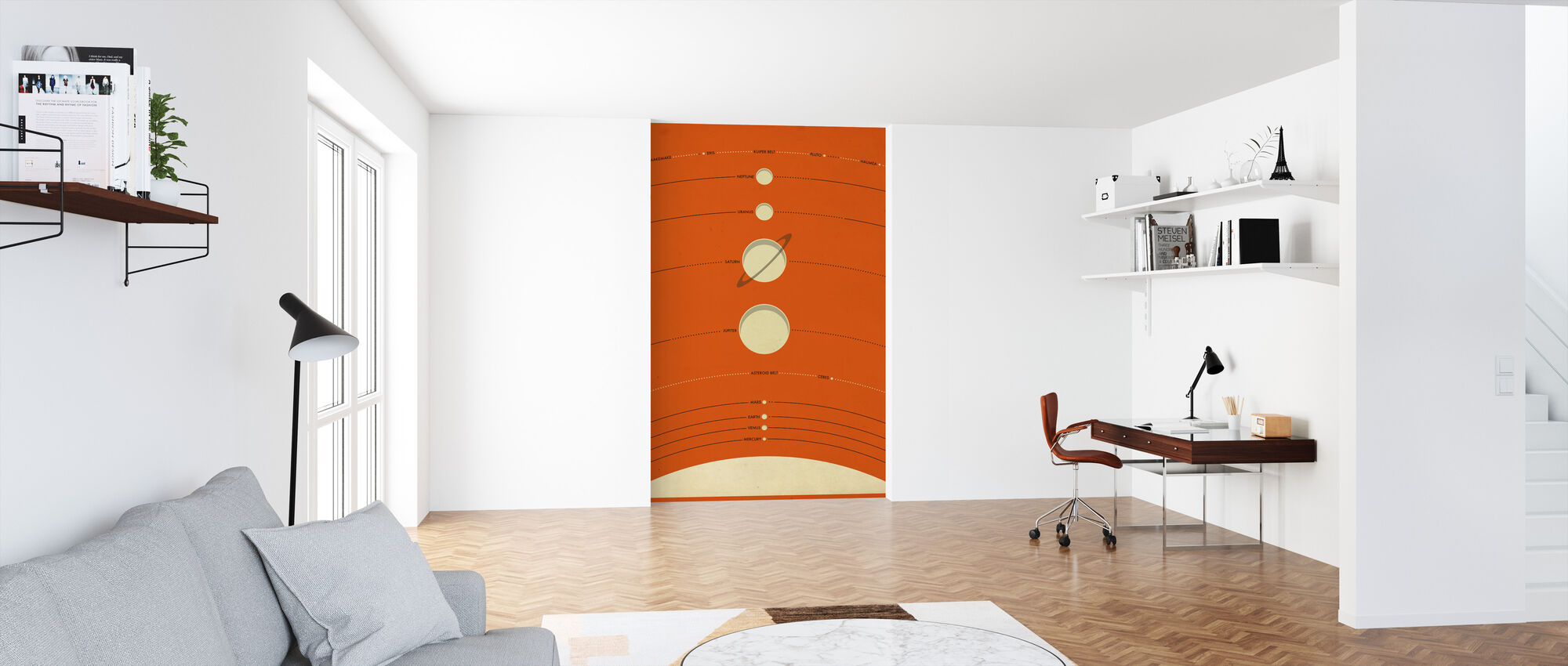 Solar System - Orange - Wallpaper - Office
