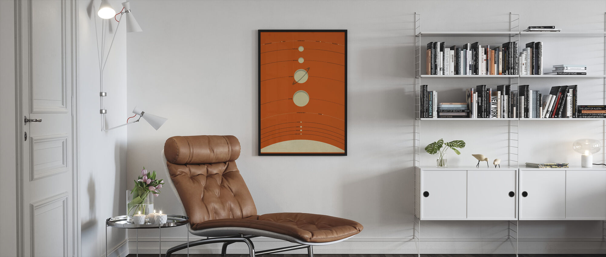 Solar System - Orange - Framed print - Living Room
