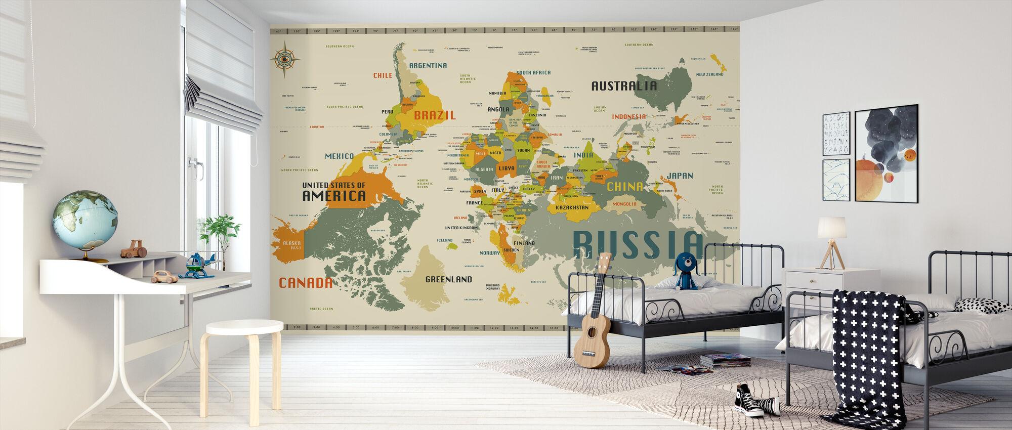 World Map Explore Upside Down - Wallpaper - Kids Room