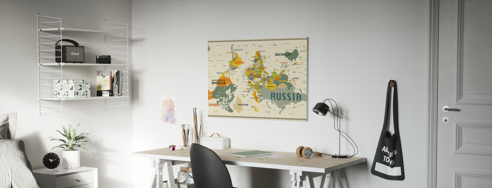 World Map Explore Upside Down - Canvas print - Kids Room