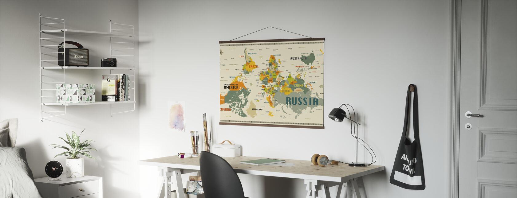 Verdenskort udforske hovedet - Plakat - Kontor