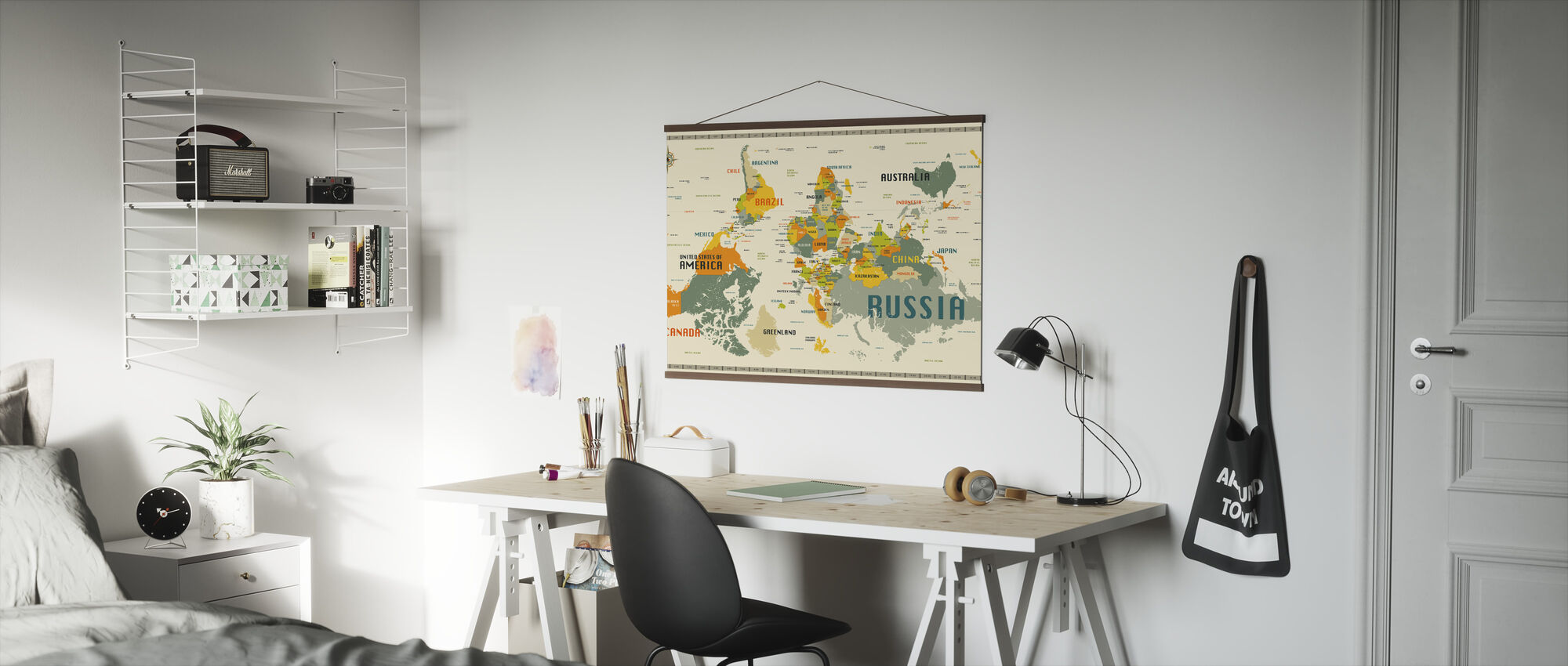 World Map Explore Upside Down - Poster - Office