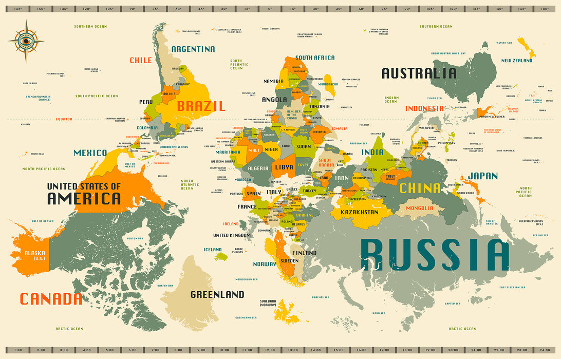 World Map Explore Upside Down High Quality Wall Murals With Free