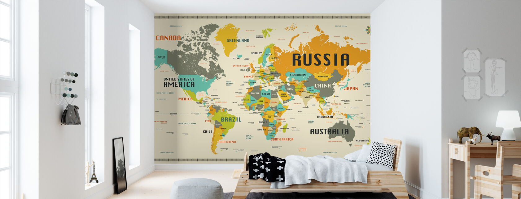 World Map Explore - Wallpaper - Kids Room