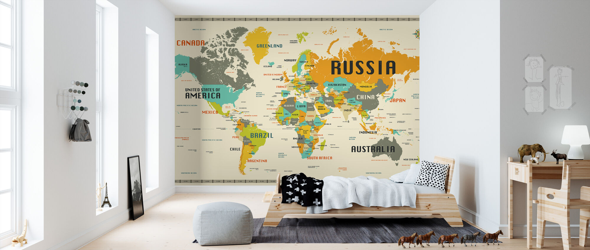 World Map Explore - Wallpaper - Kids Room