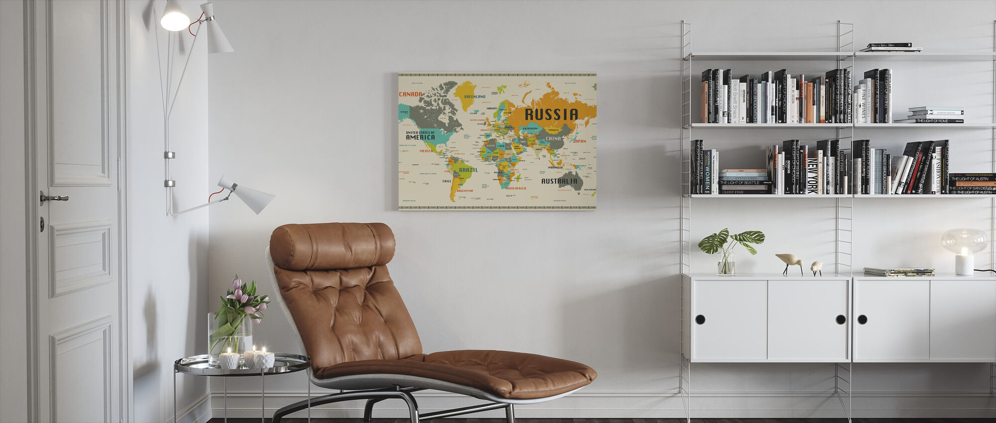 World Map Explore - Canvas print - Living Room