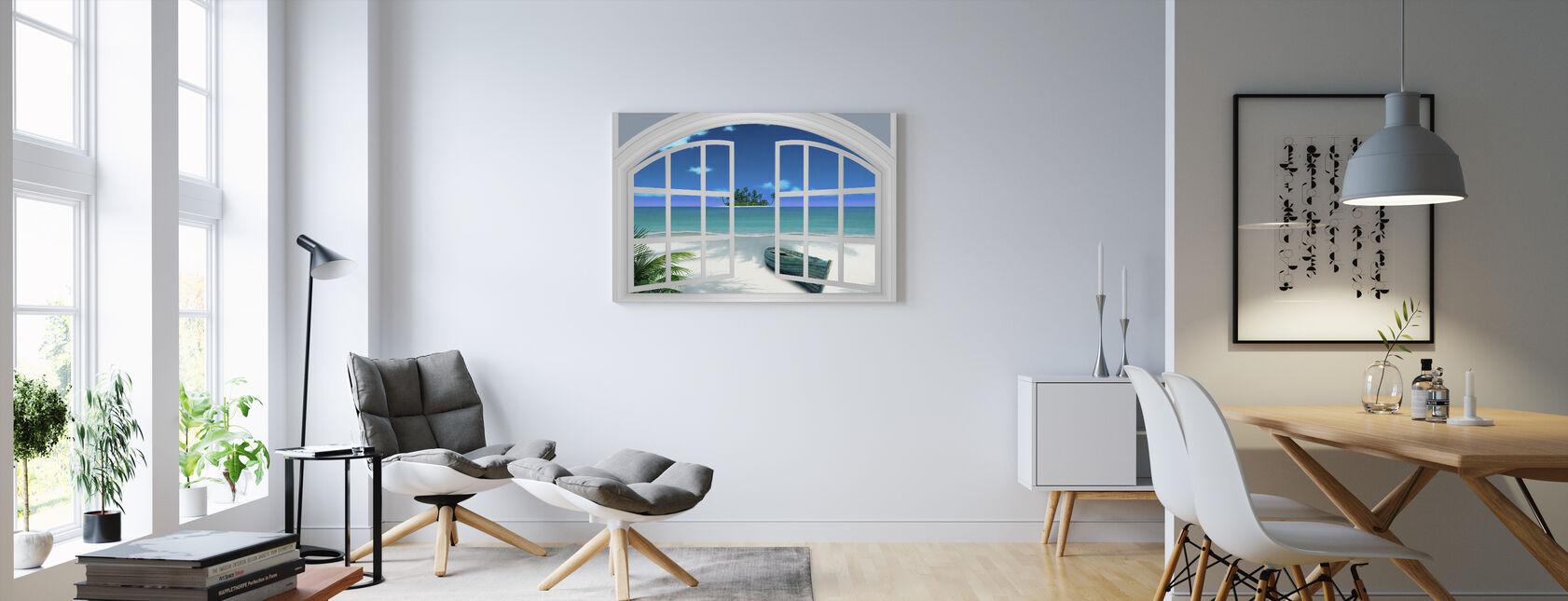 Beach View Through Window - Canvas print - Living Room