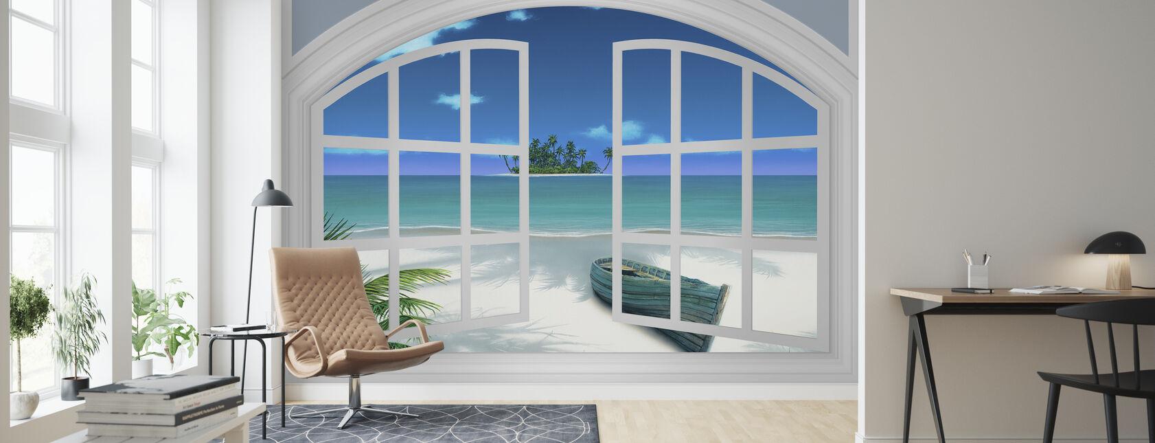 Blick auf den Strand durch Fenster - Tapete - Wohnzimmer