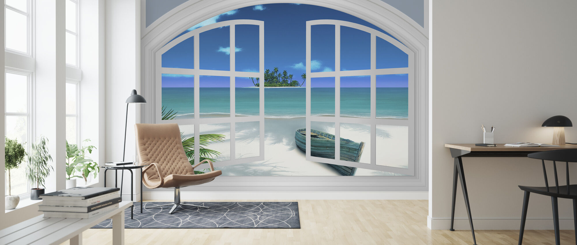 Beach View Through Window - Wallpaper - Living Room