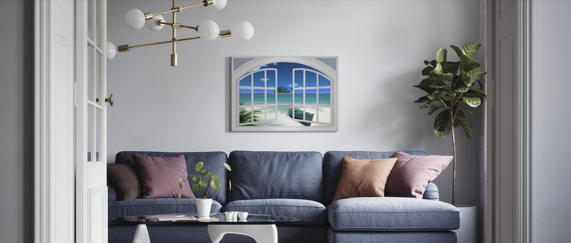 Utsikt over stranden gjennom vinduet - Lerretsbilde - Stue
