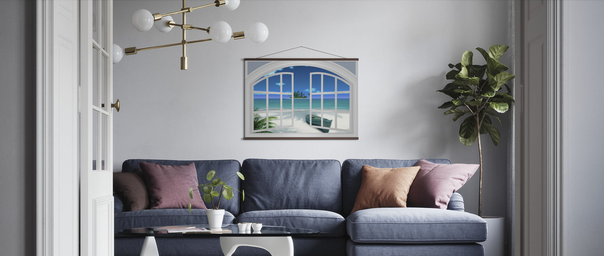 Beach View Through Window - Poster - Living Room