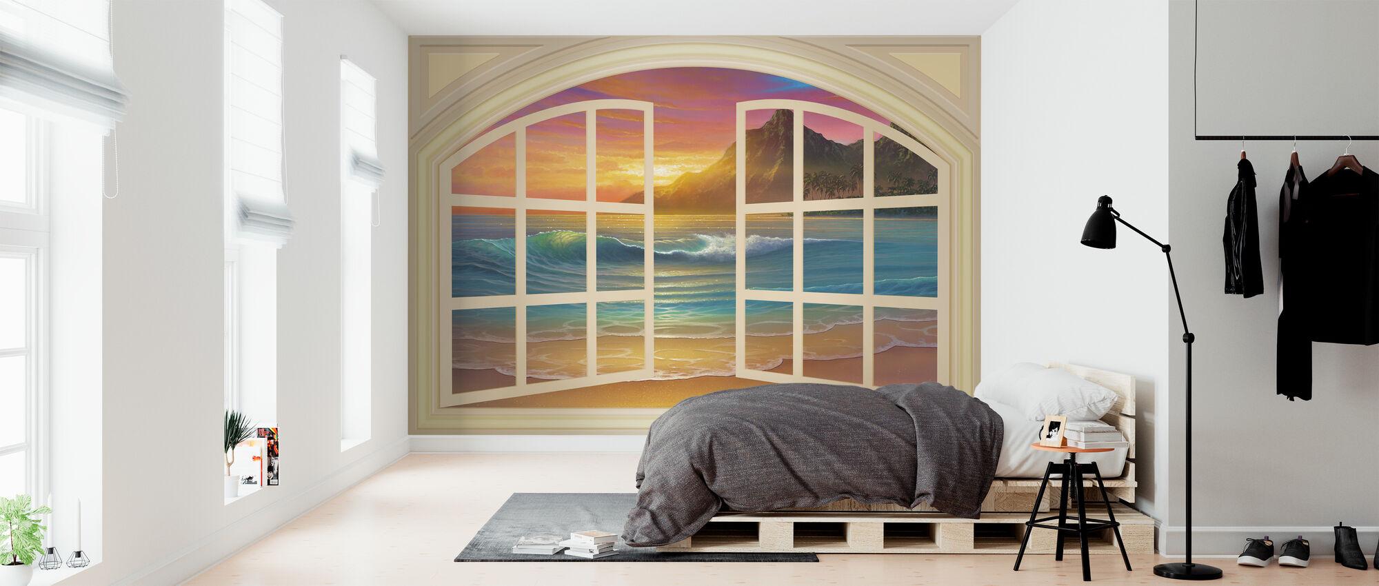 Golden Sunset ikkunan kautta - Tapetti - Makuuhuone