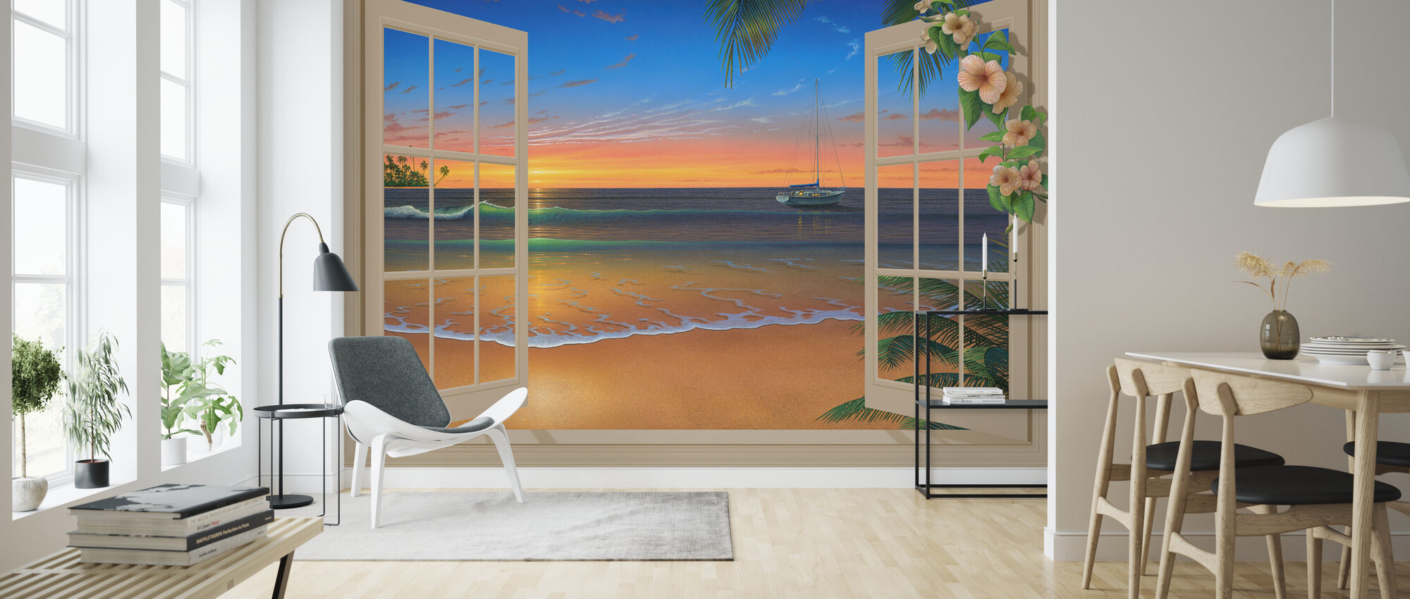 Solnedgång genom fönster med blommor - Tapet - Vardagsrum