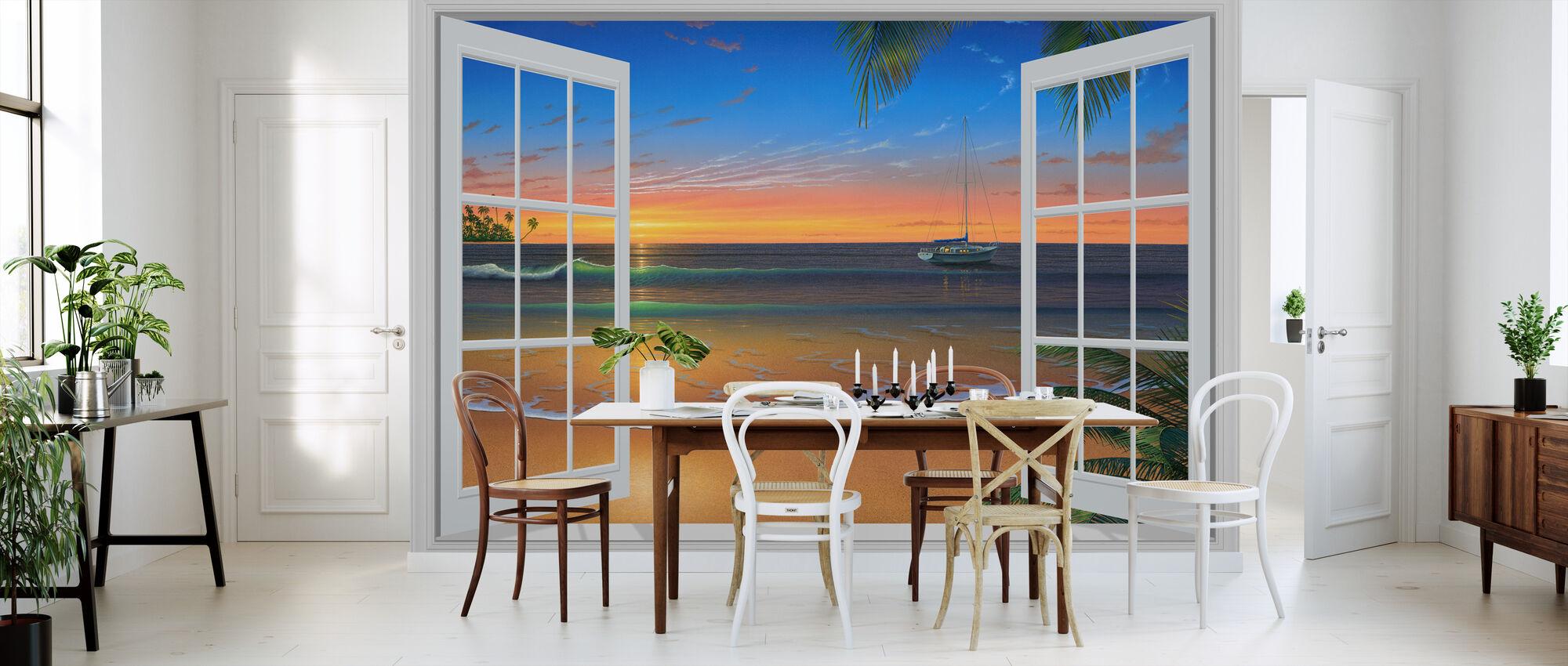 Solnedgång genom fönster - Tapet - Kök