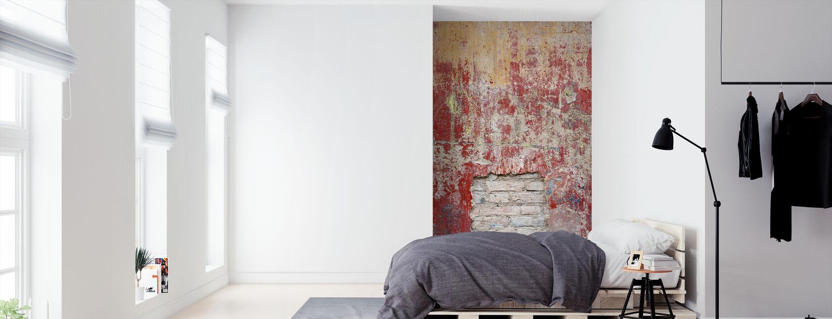 Reddish Old Cement Wall - Wallpaper - Bedroom