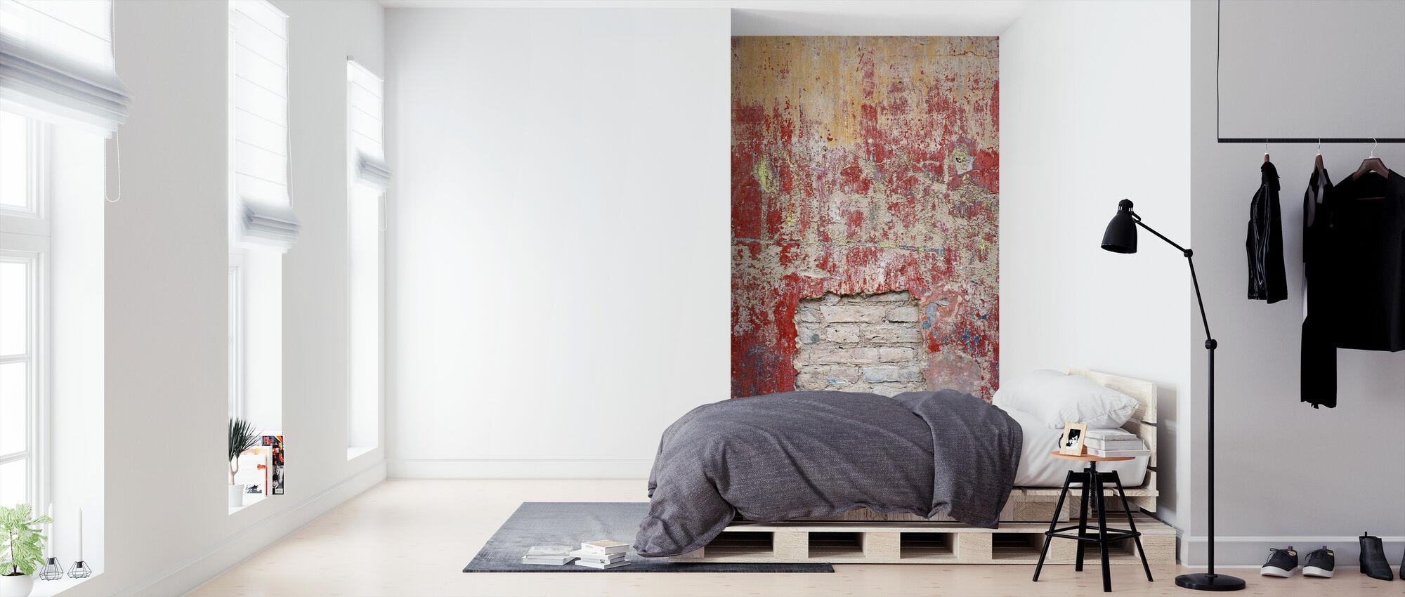 rødlig gammel sement vegg - Tapet - Soverom