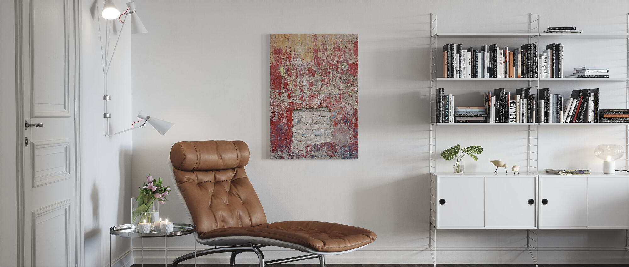Roodachtige oude cementmuur - Canvas print - Woonkamer