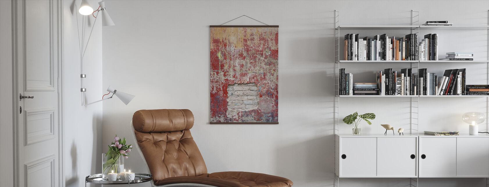 Pared de cemento viejo rojizo - Póster - Salón