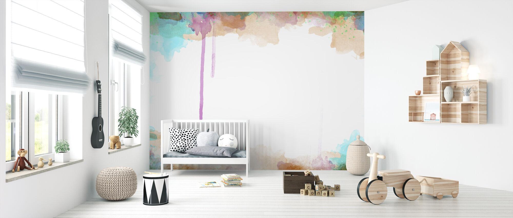 Zachte aquarel Frame - Behang - Babykamer