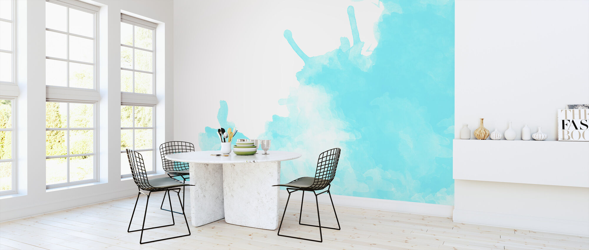 Turquoise Watercolor - Wallpaper - Kitchen