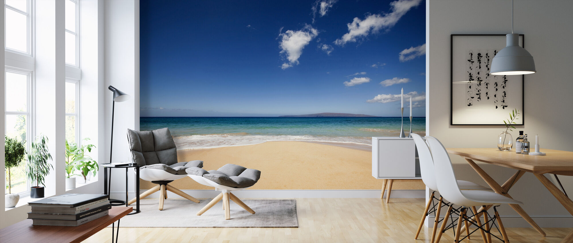 Blue Noon at the Beach - Wallpaper - Living Room