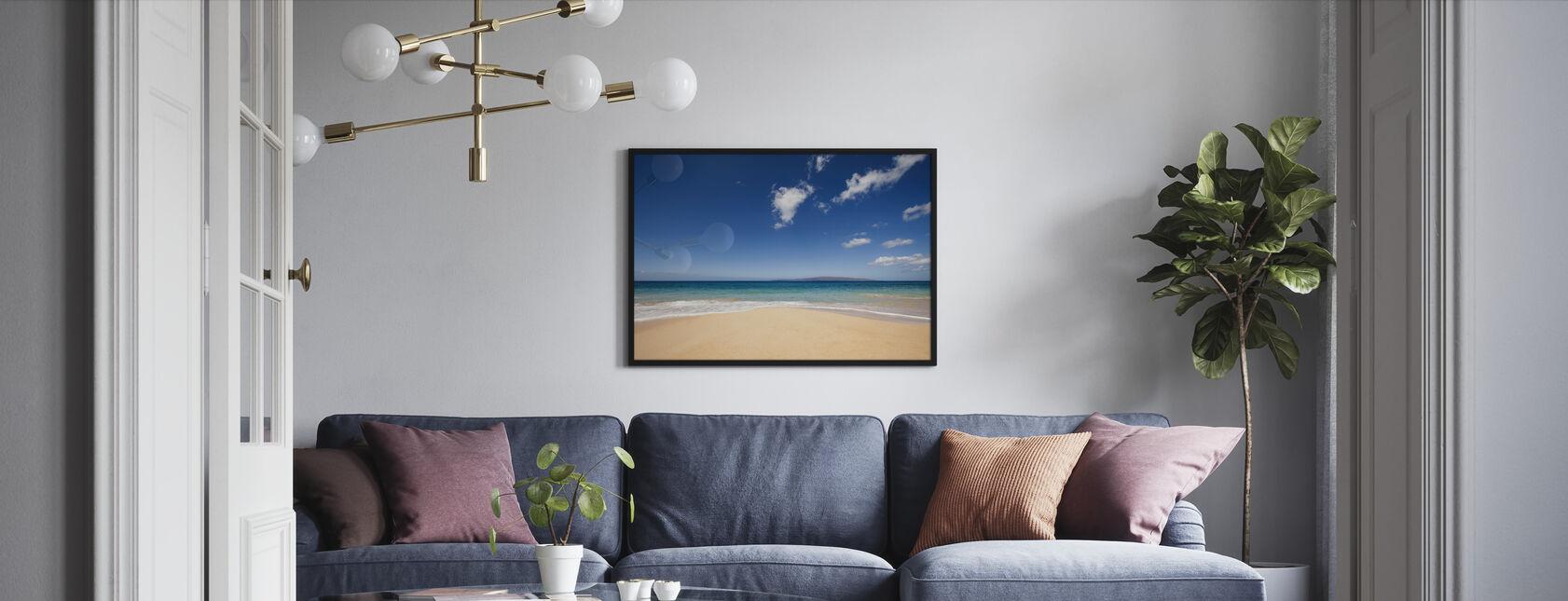 Blauwe middag op het strand - Ingelijste print - Woonkamer