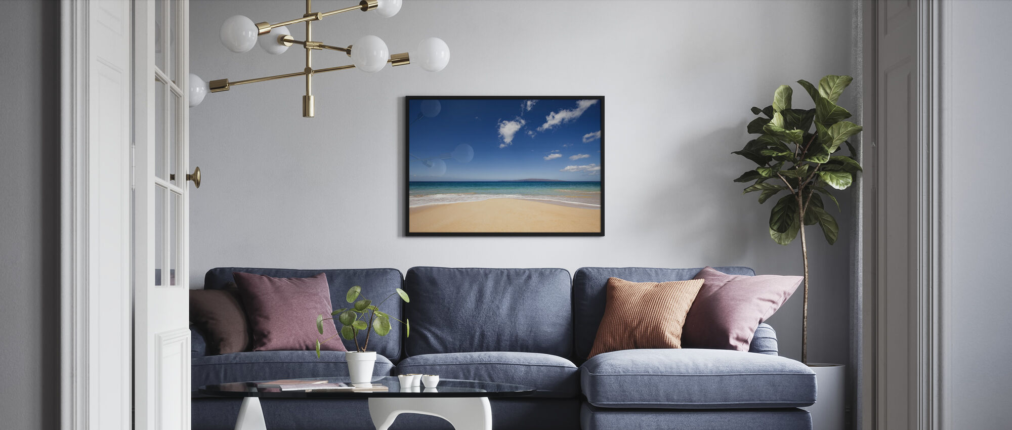 Blue Noon at the Beach - Framed print - Living Room