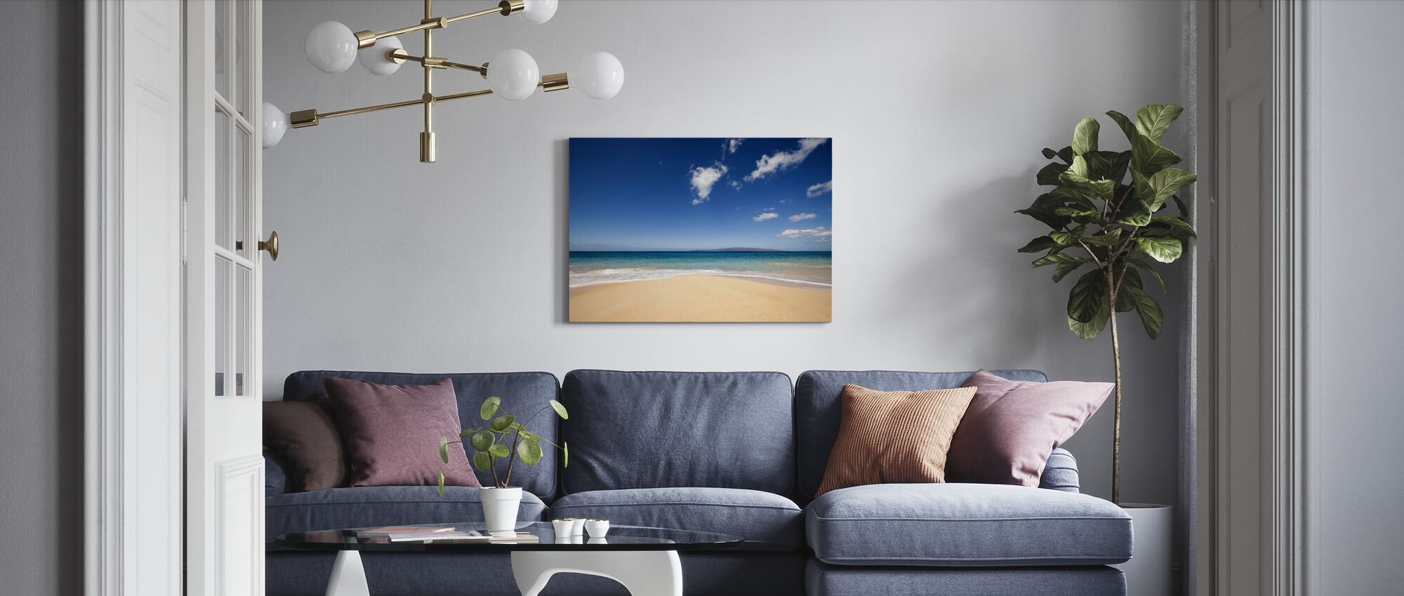 Blue Noon at the Beach - Canvas print - Living Room