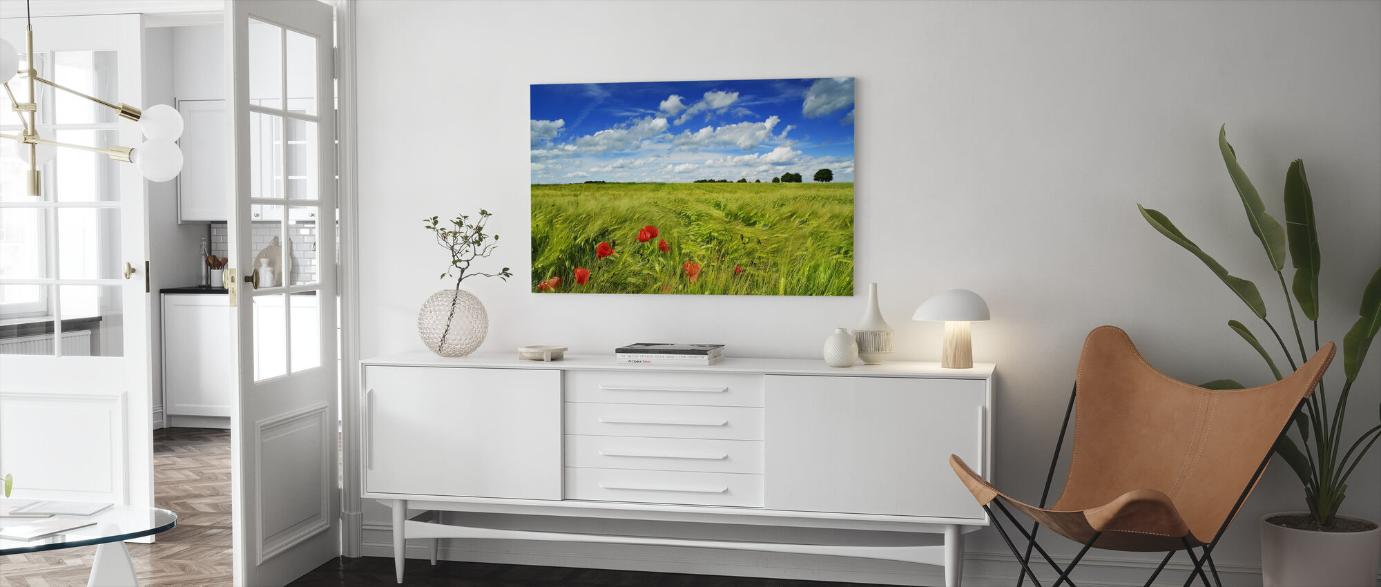 Barley Field with Corn Poppies - Canvas print - Living Room