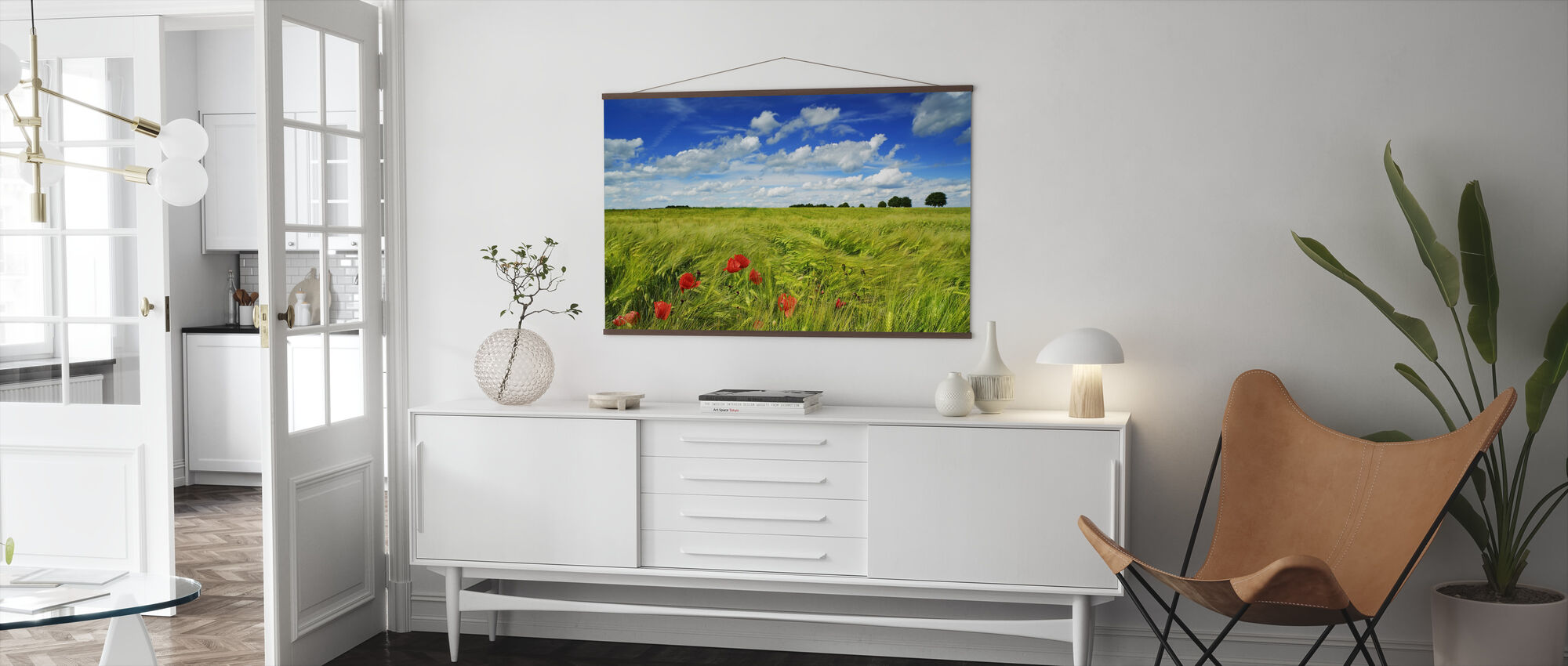 Barley Field with Corn Poppies - Poster - Living Room