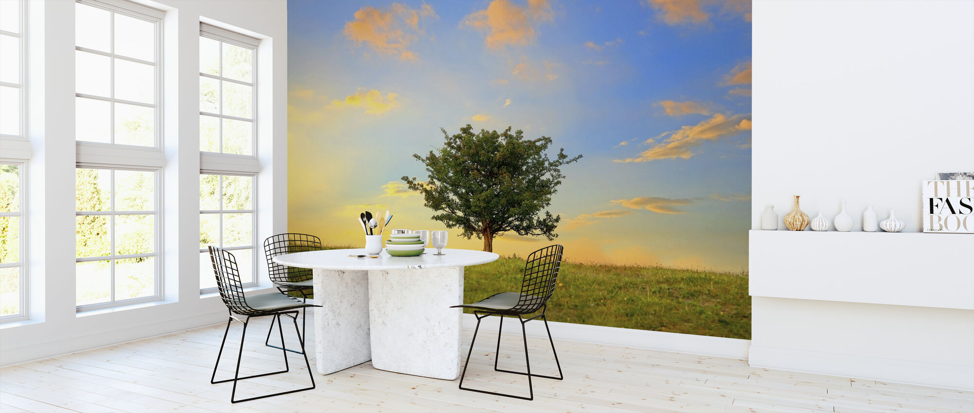 Hawthorn Tree and Golden Clouds - Wallpaper - Kitchen