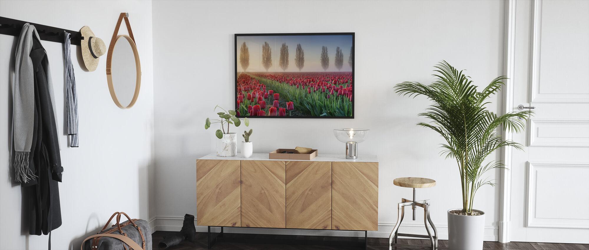 Misty Morning in Tulip Field - Framed print - Hallway