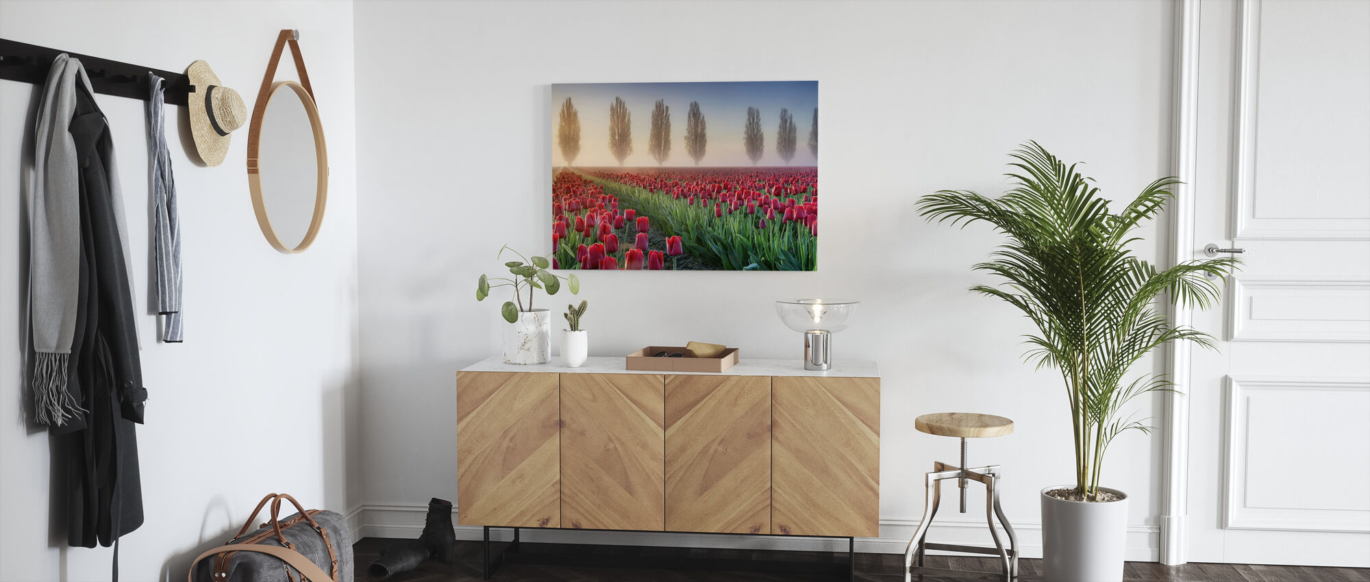 Misty Morning in Tulip Field - Canvas print - Hallway