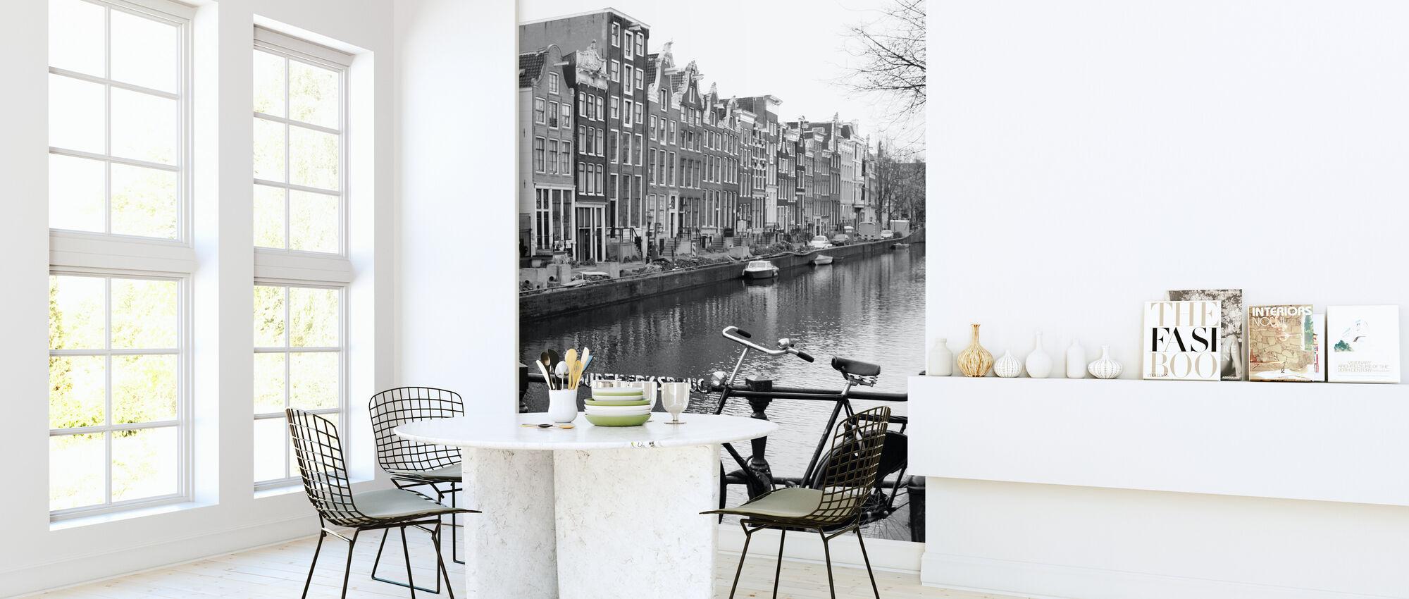 Fiets aan het Kanaal in Amsterdam - Behang - Keuken
