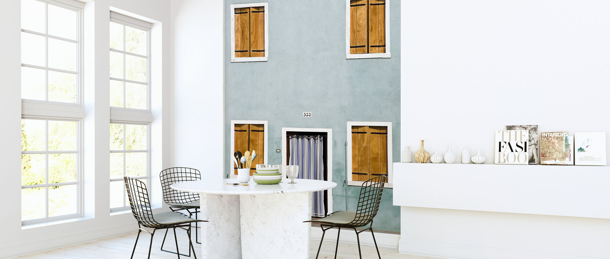 Facade with Closed Shutters - Wallpaper - Kitchen