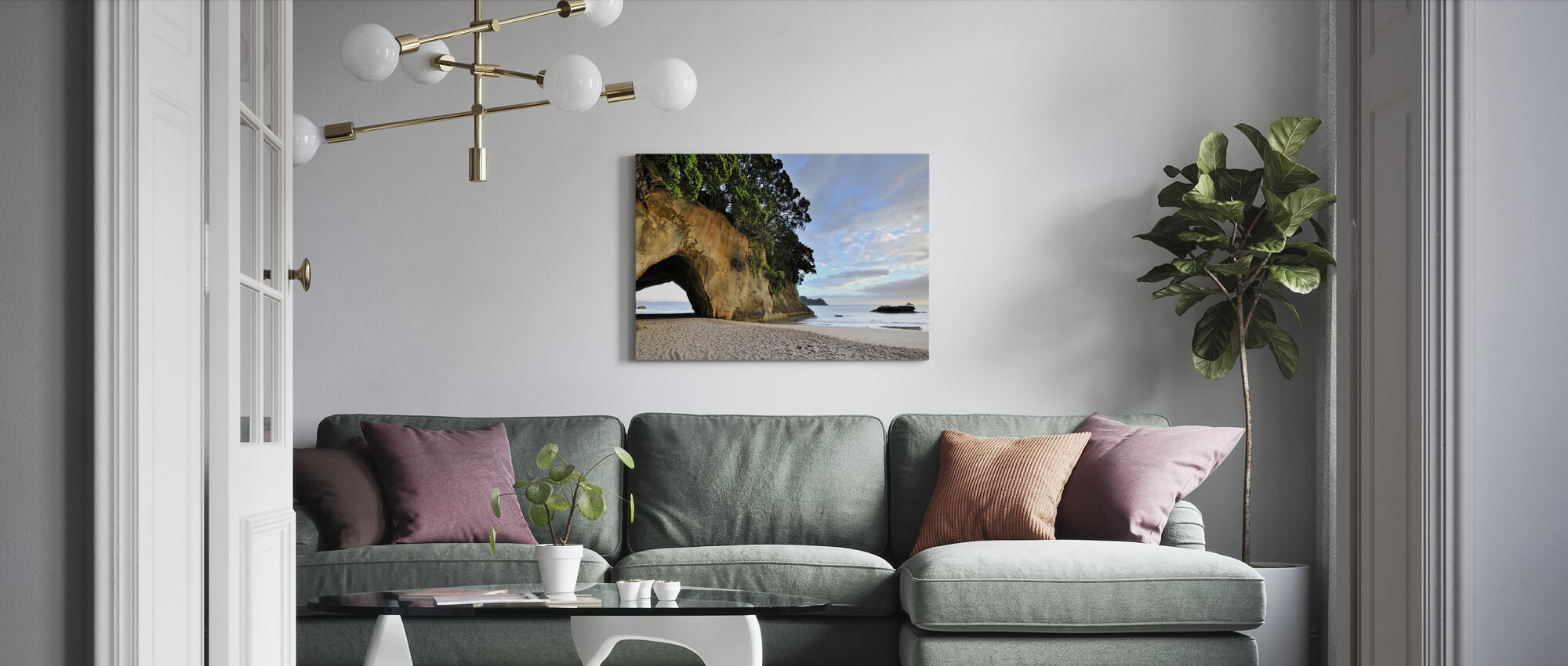 Rock Cave on the Beach - Canvas print - Living Room