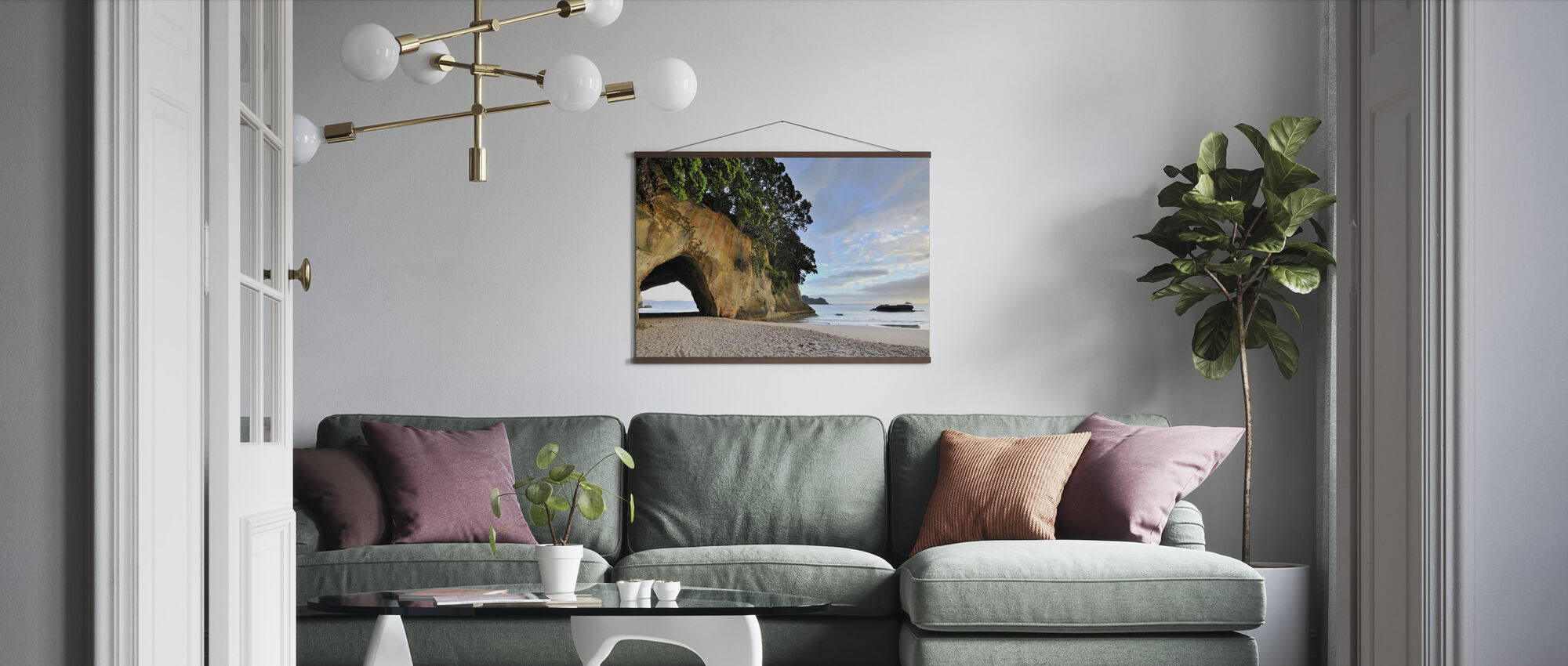 Rock Cave on the Beach - Poster - Living Room