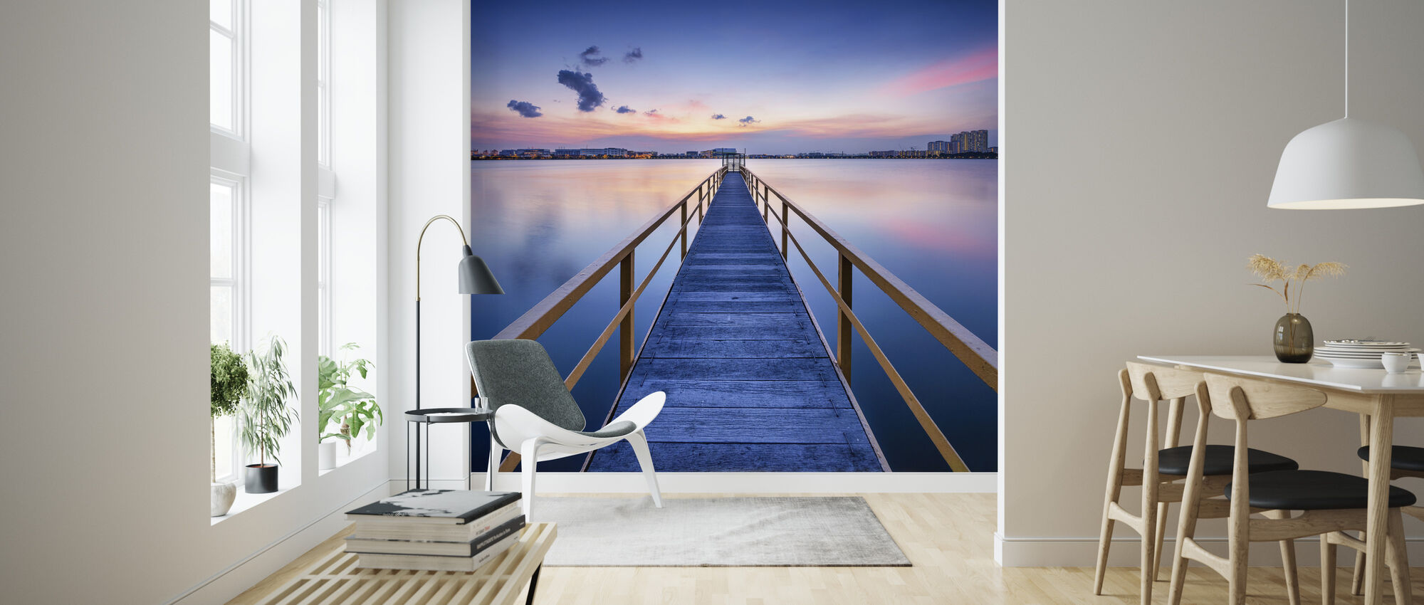 Rosy Sunset Pier - Behang - Woonkamer
