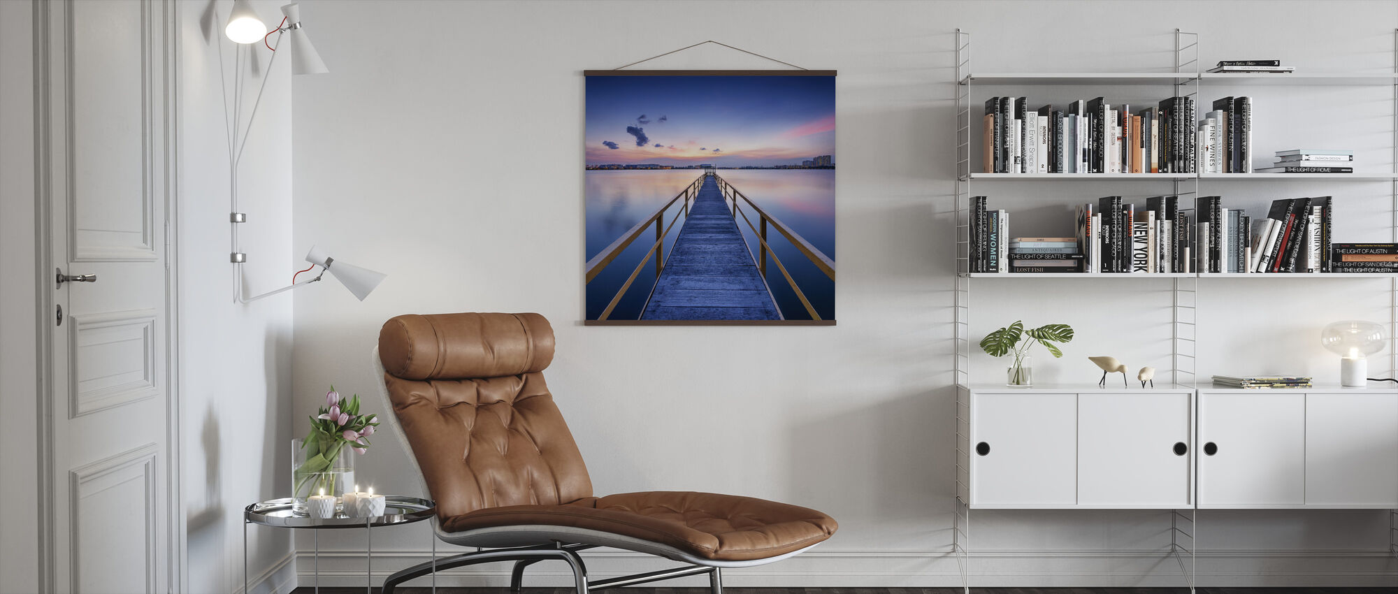 Rosy Sunset Pier - Poster - Living Room