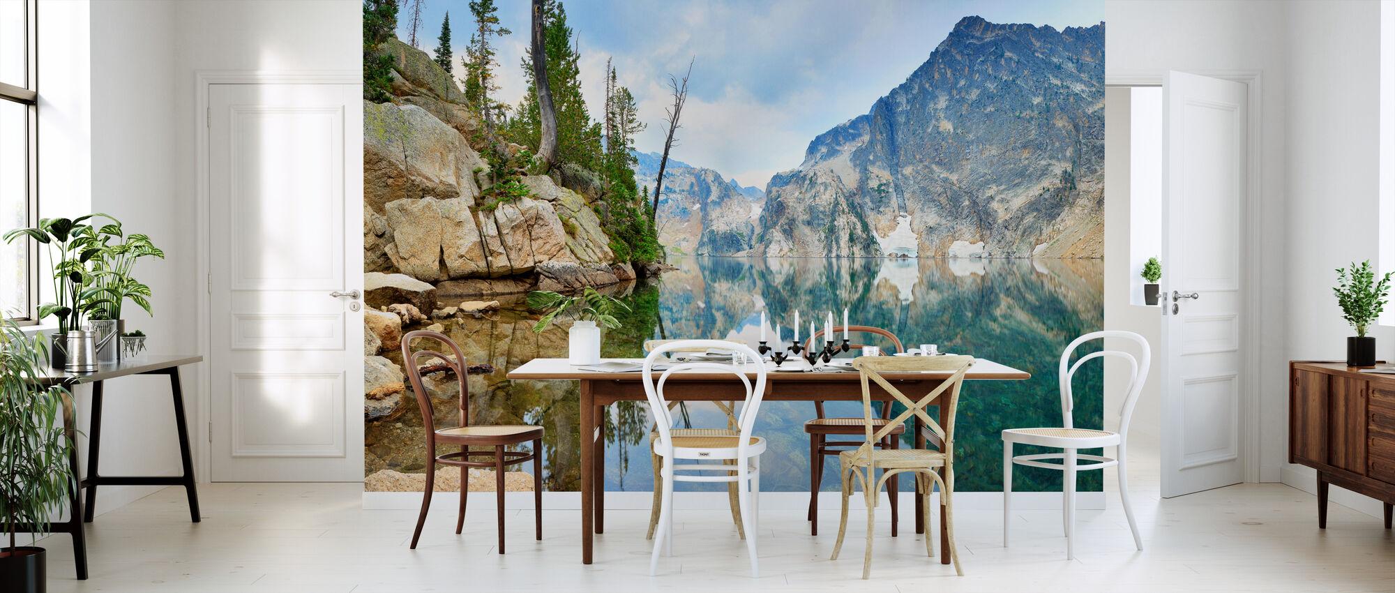 Mountain Lake with Mirror Reflection - Wallpaper - Kitchen