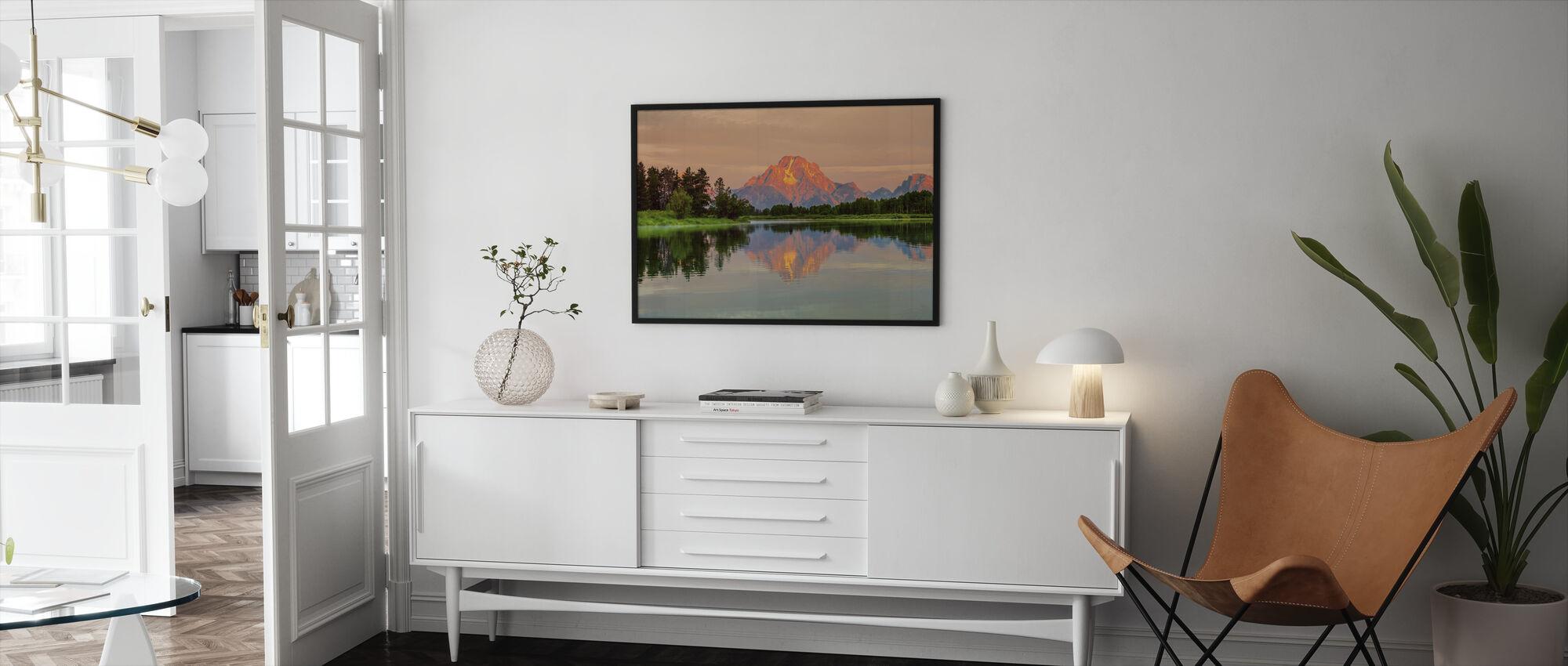 Grand Teton Auringonnousu - Kehystetty kuva - Olohuone