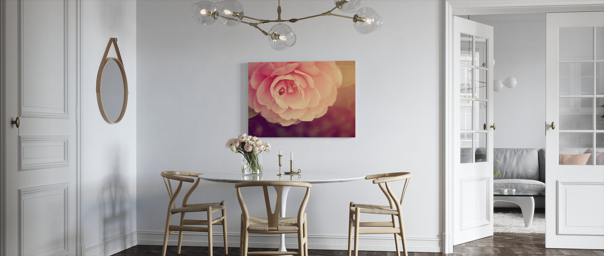 Ladybird on Camellia - Canvas print - Kitchen