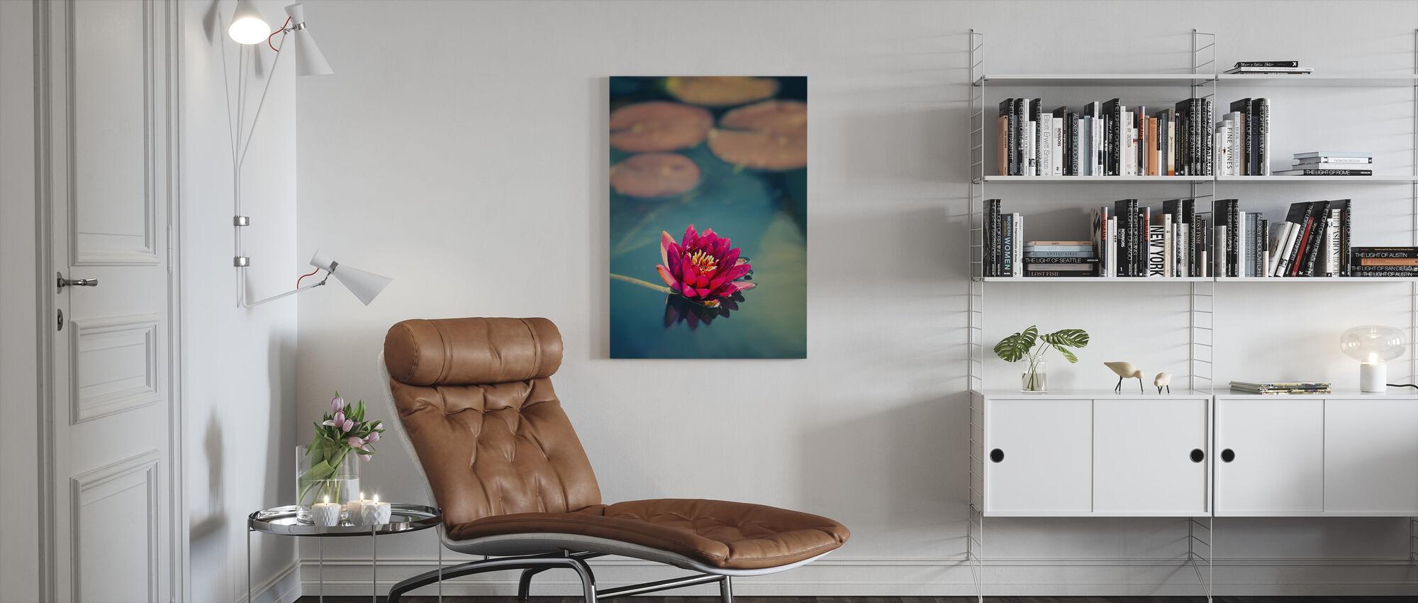Lotus in Lake - Canvas print - Living Room