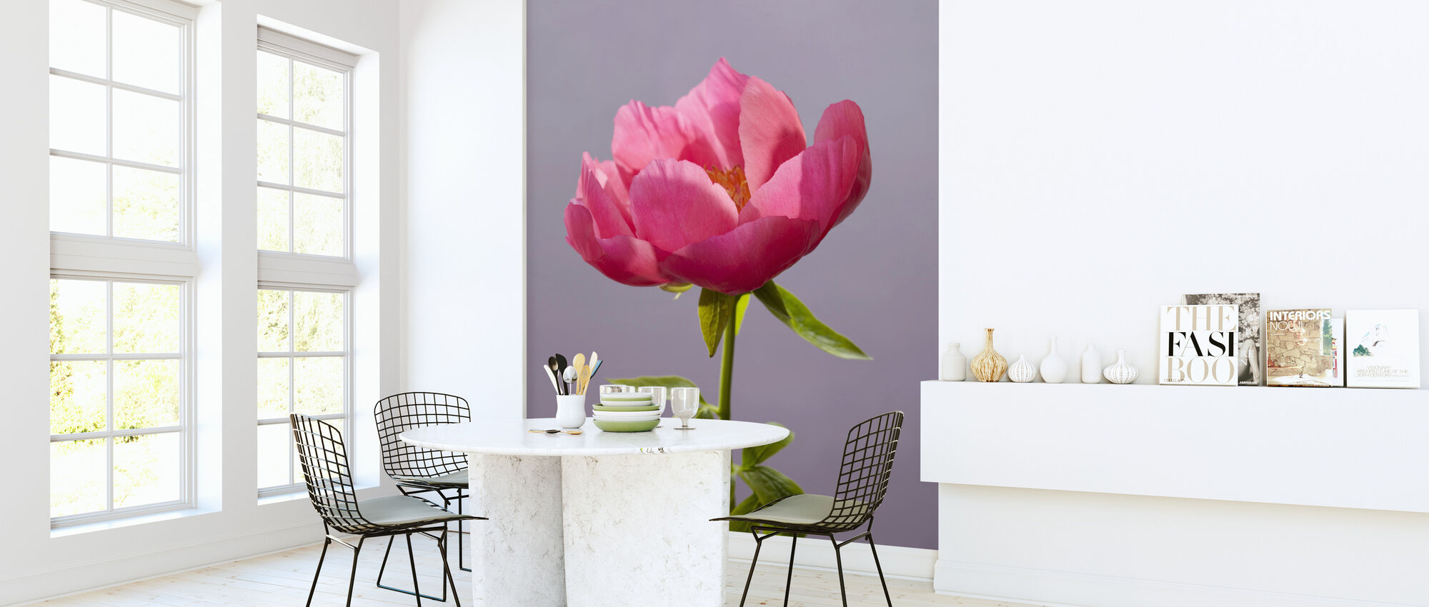 Pink Peony Flower - Wallpaper - Kitchen