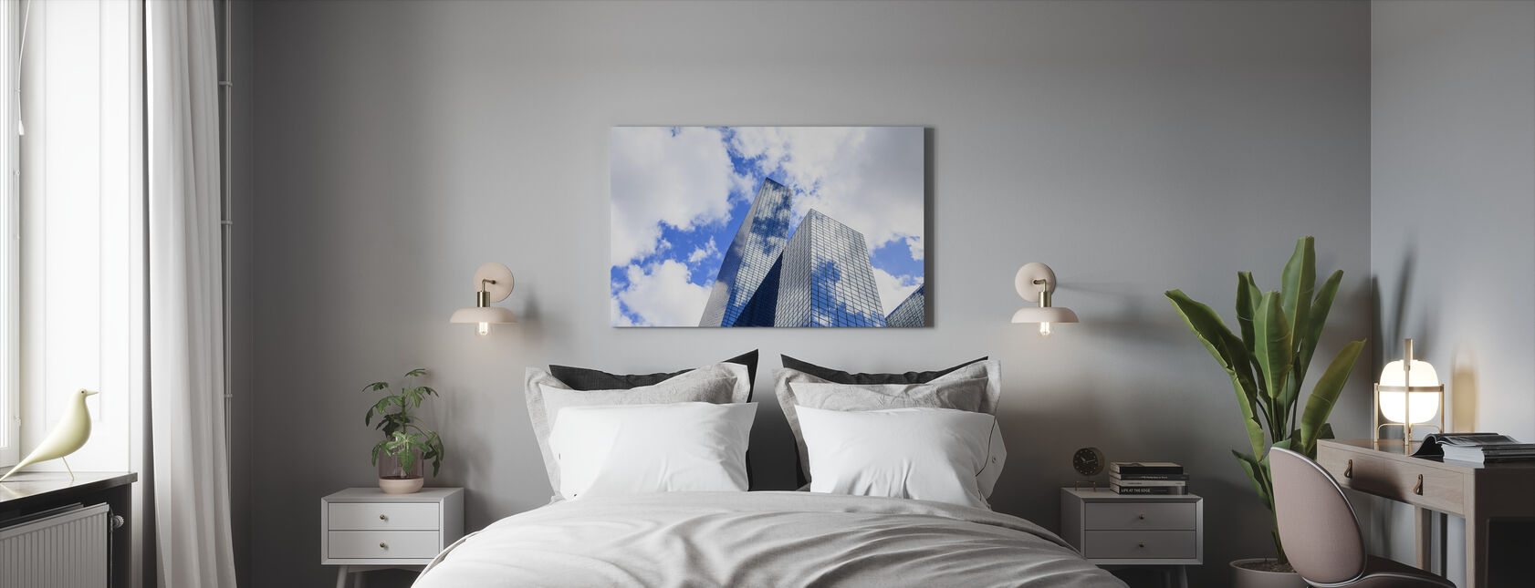 Pilvet heijastuvat moderni lasi julkisivu - Canvastaulu - Makuuhuone