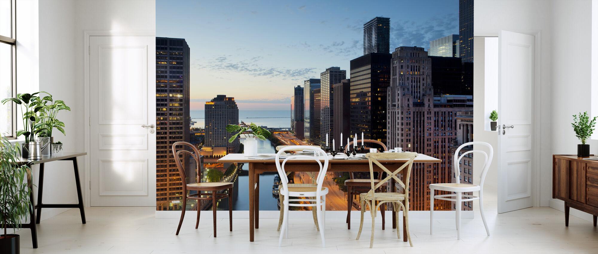Voorbij de stadslichten in Chicago - Behang - Keuken