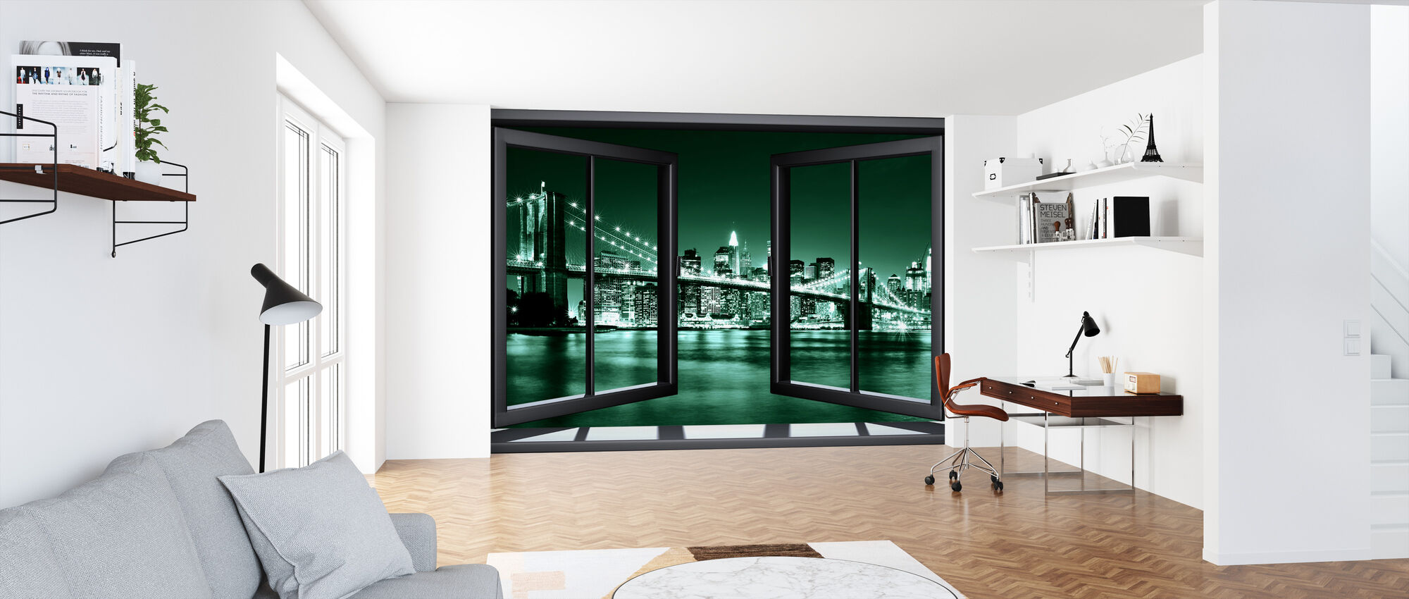 Brooklyn brug door raam - groen - Behang - Kantoor