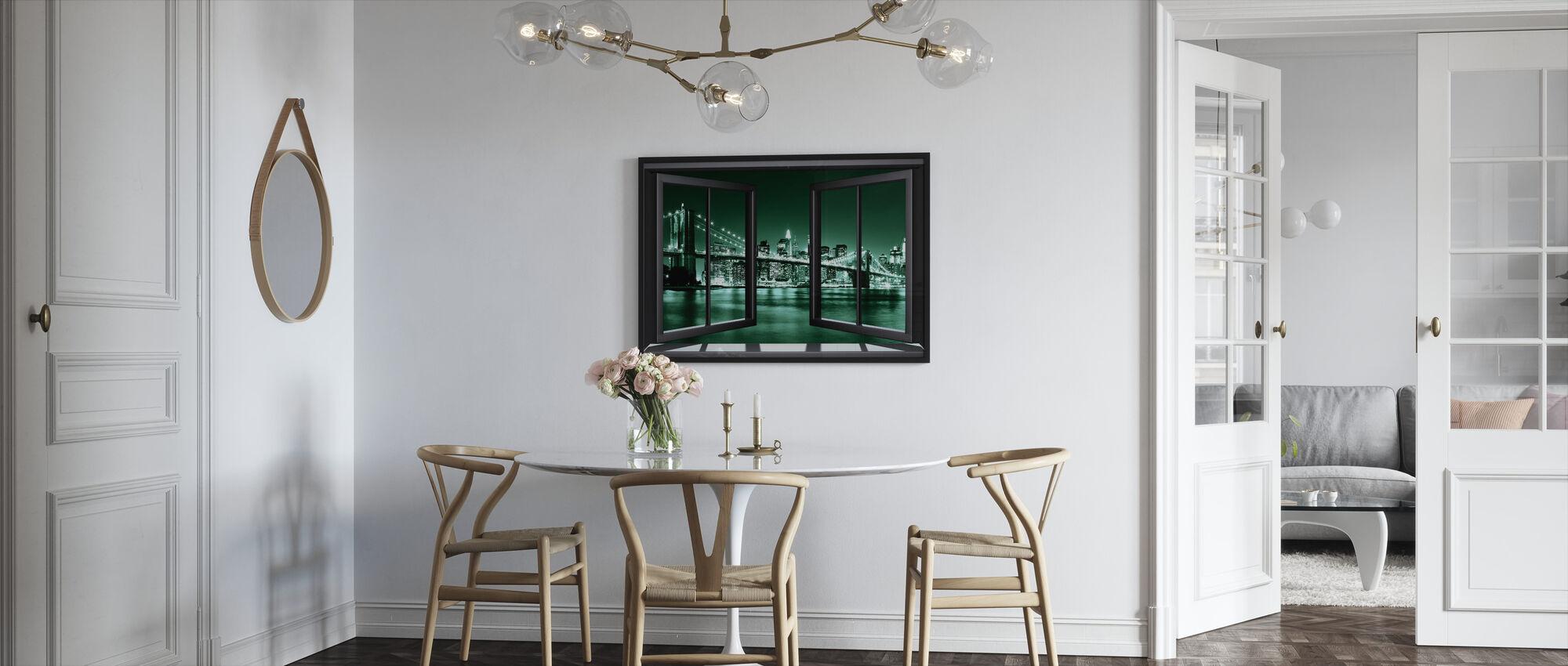 Brooklyn Bridge gjennom vinduet - grønn - Innrammet bilde - Kjøkken