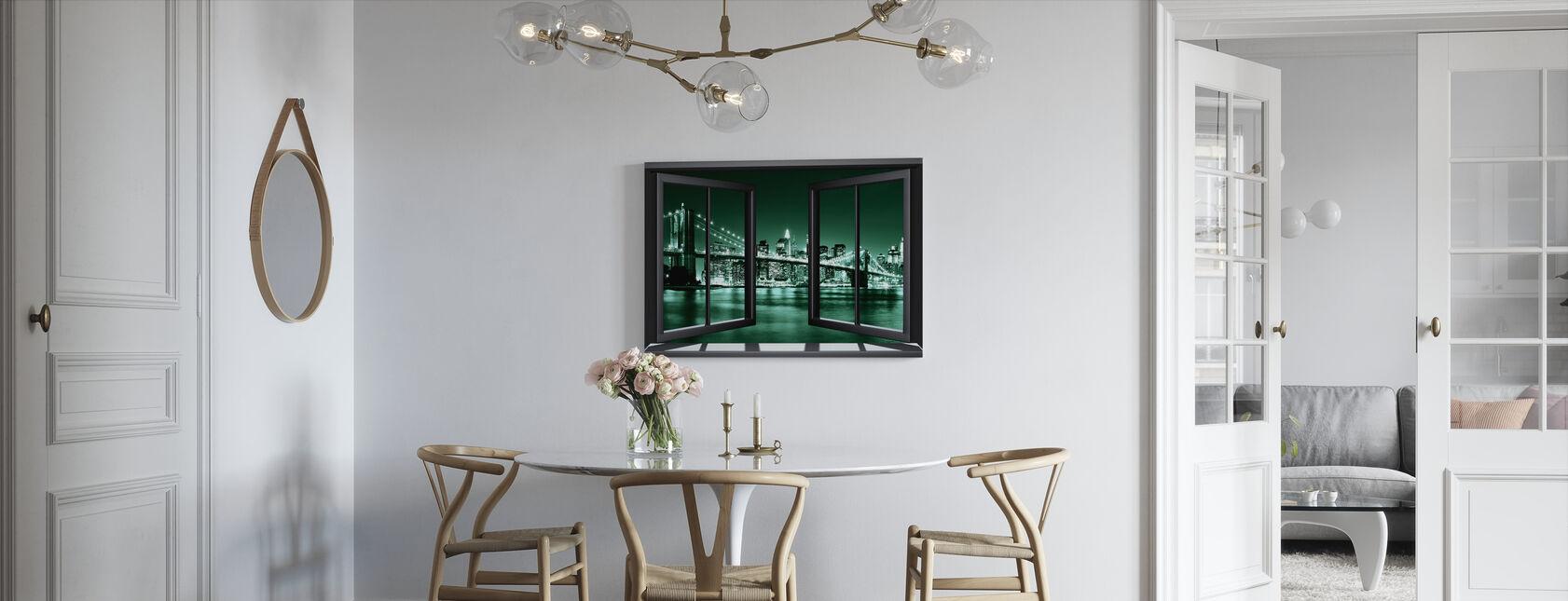 Brooklyn brug door raam - groen - Canvas print - Keuken