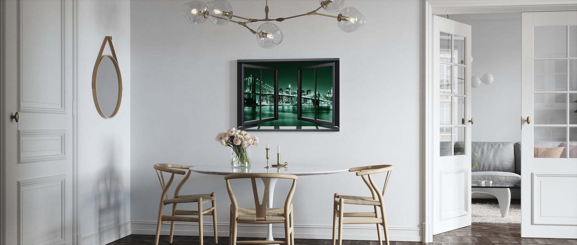 Brooklyn brug door raam - groen - Canvas print - Keuken